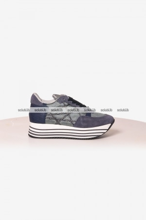 Scarpe Lake donna Mr big platform azzurro blu navy