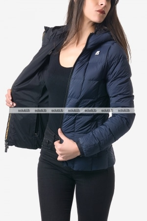Giubbotto reversibile Kway donna Lily thermo stretch double nero blu scuro