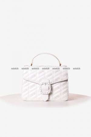 Borsa a mano Liu Jo donna Tiberina logo all over bianco