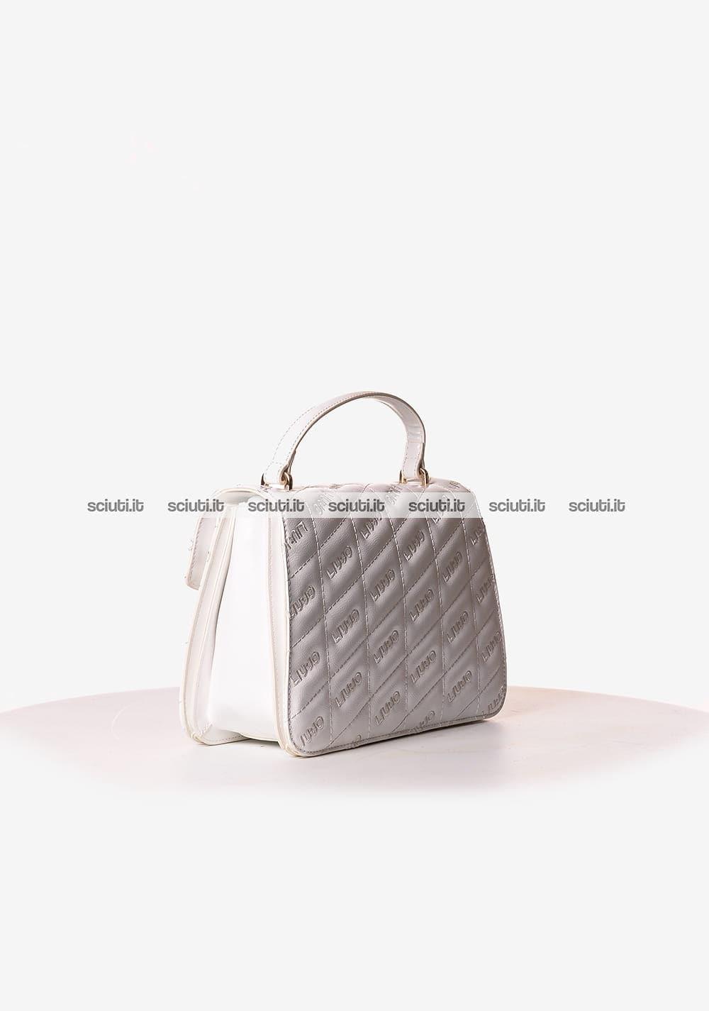 Borsa a mano Liu Jo donna Tiberina logo all over bianco