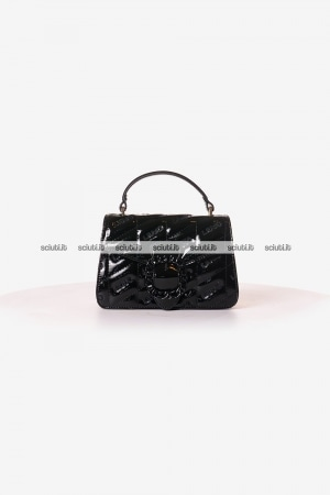 Borsa a mano piccola Liu Jo donna Tiberina logo all over nero