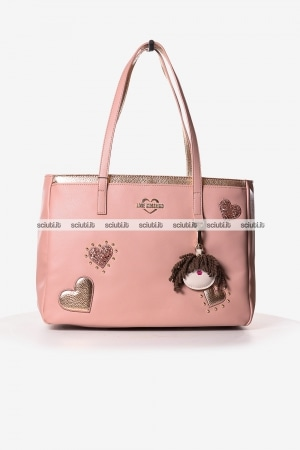 Borsa shopping Love Moschino donna cuori charming doll rosa