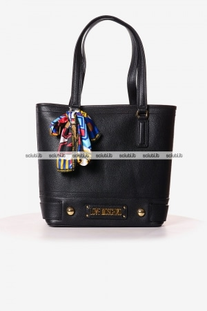 Borsa shopping Love Moschino donna logo lettering metallo nero