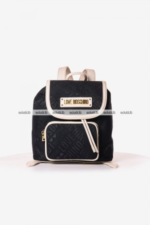 Zaino Love Moschino donna logo all over nero