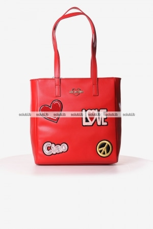 Borsa shopping Love Moschino donna patch rosso
