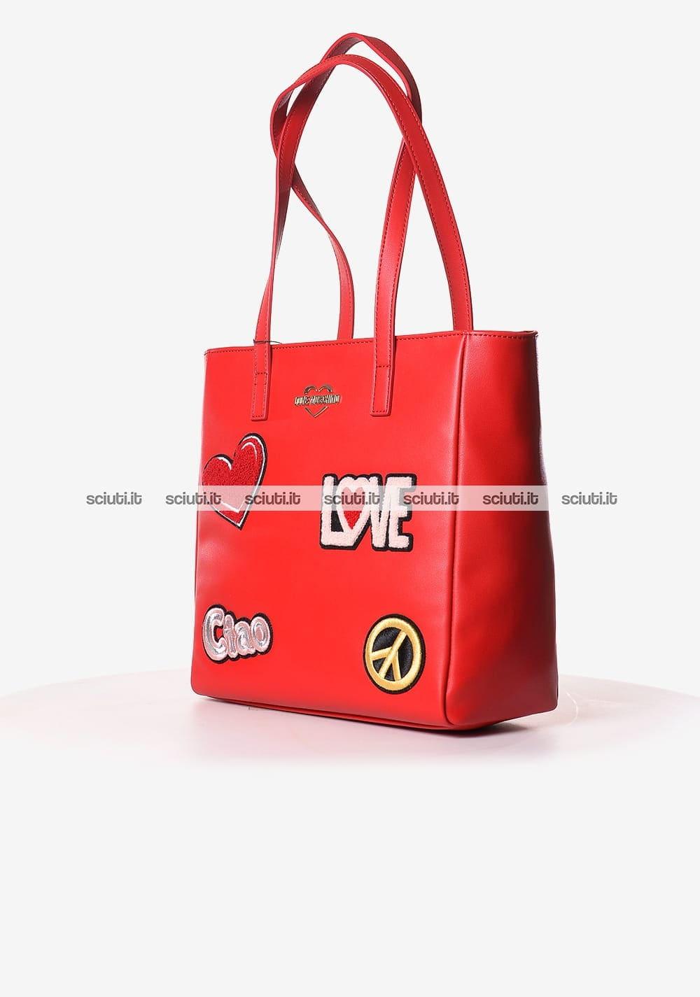 Borsa shopping Love Moschino donna patch rosso | Sciuti.it