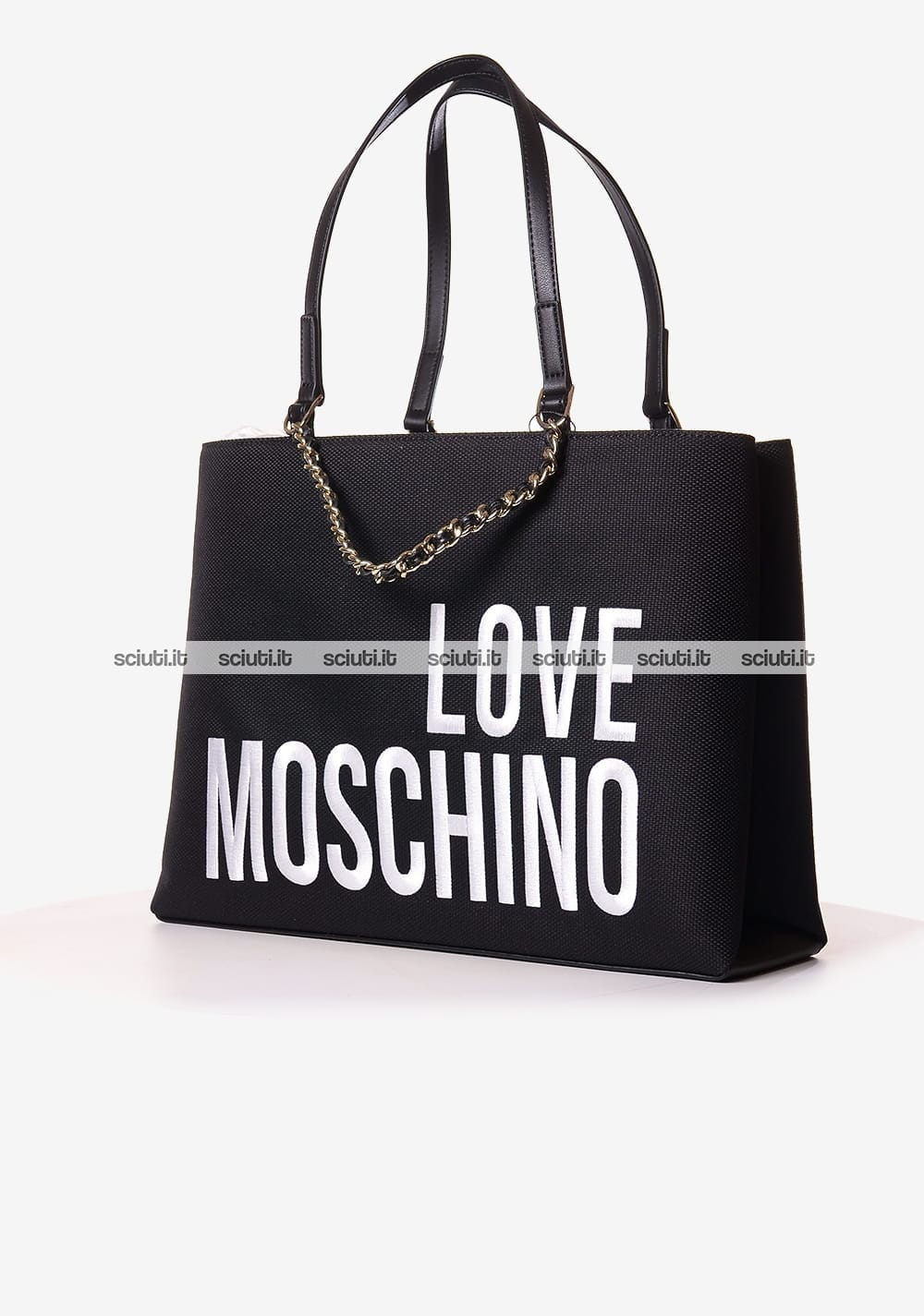 8390671ae5 Borsa a spalla Love Moschino donna in canvas logo nero | Sciuti.it