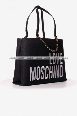 Borsa a spalla Love Moschino donna in canvas logo nero