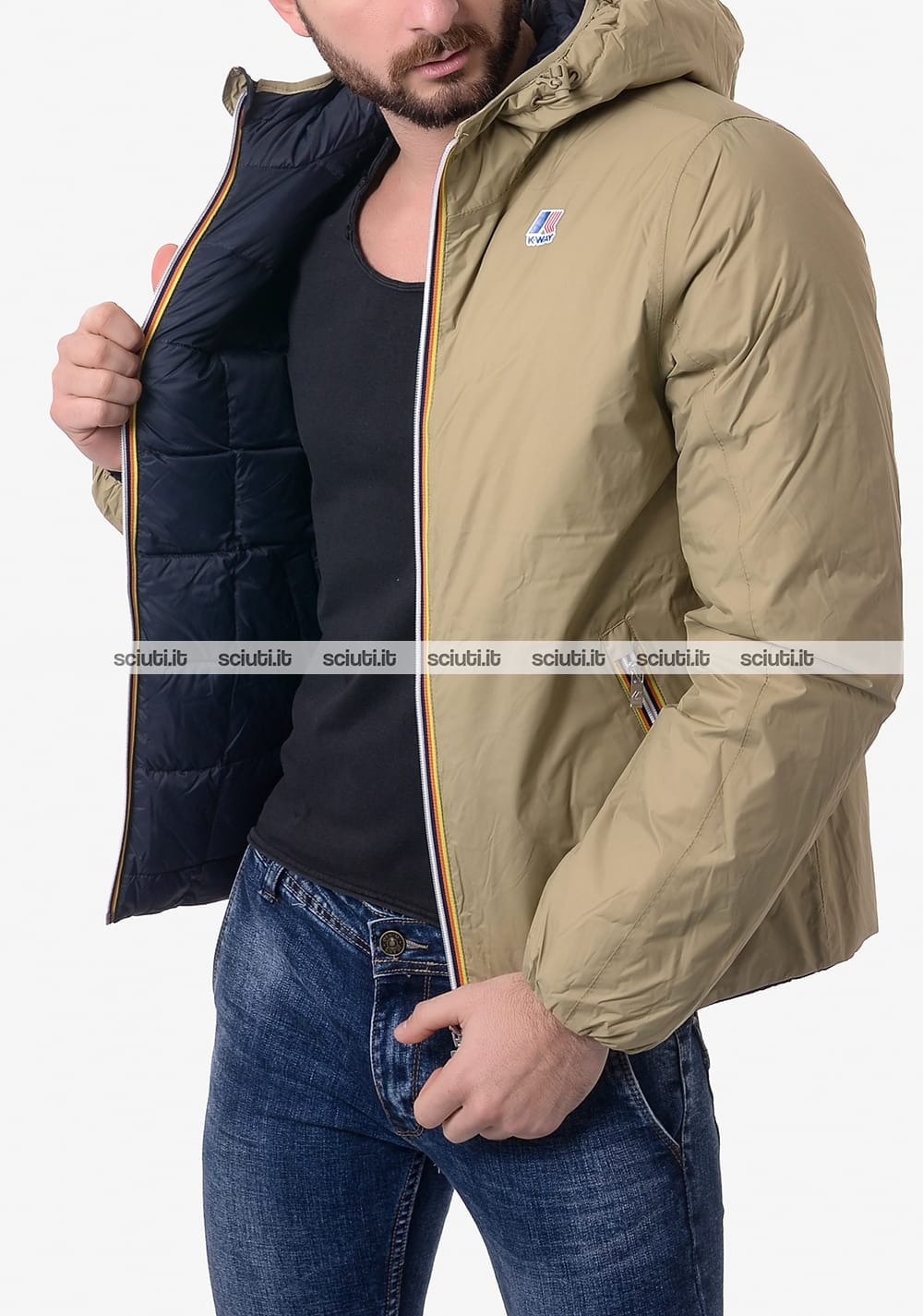 102a109329e5ff Giubbotto Kway uomo reversibile Jacques Thermo Plus Double beige blu scuro