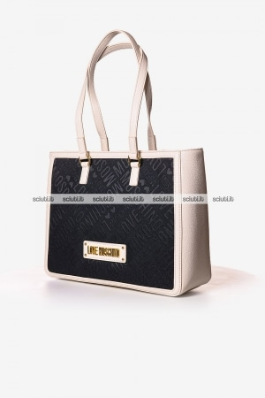 Borsa shopping Love Moschino donna logo all over nero