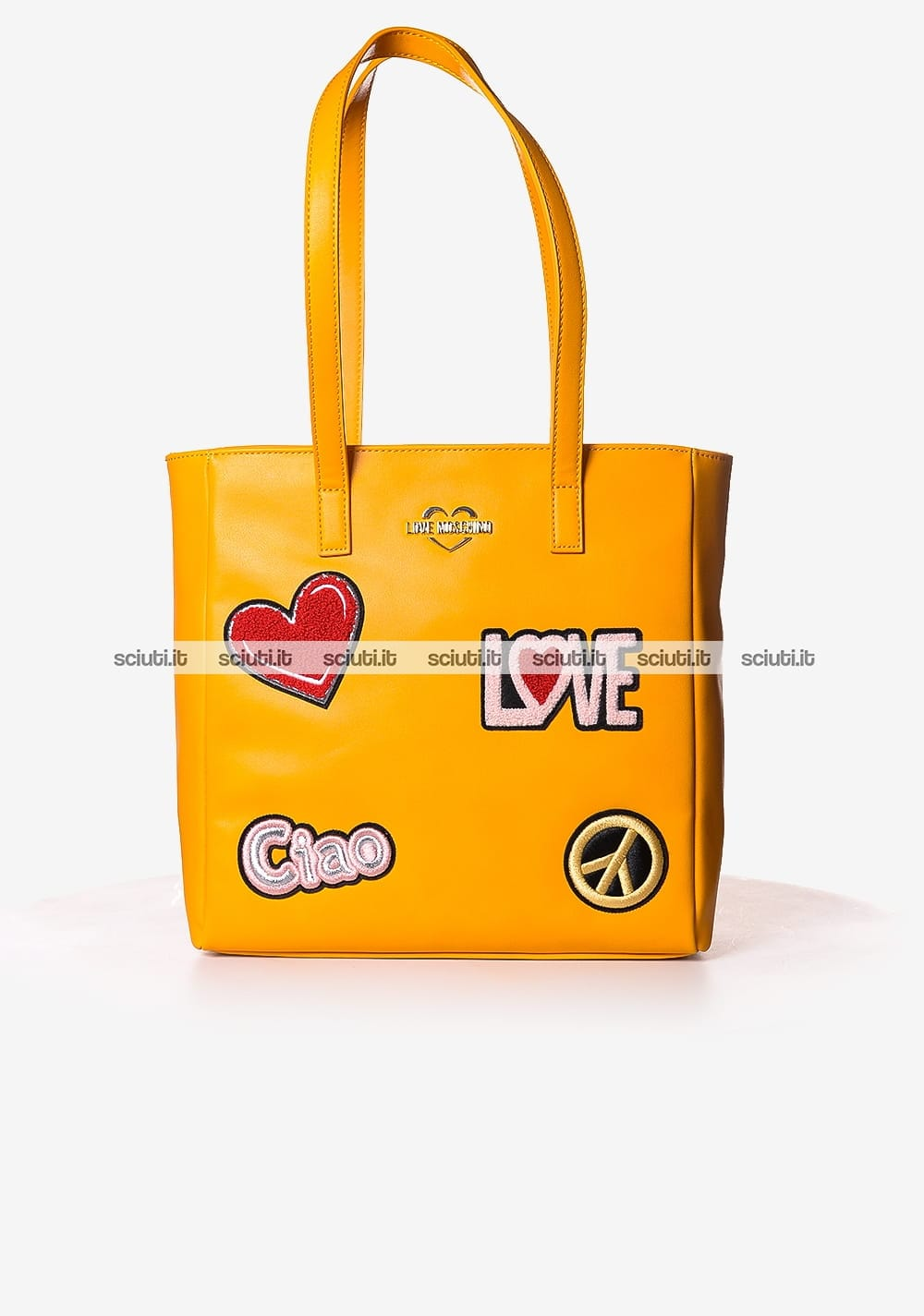 Borsa shopping Love Moschino donna patch arancione