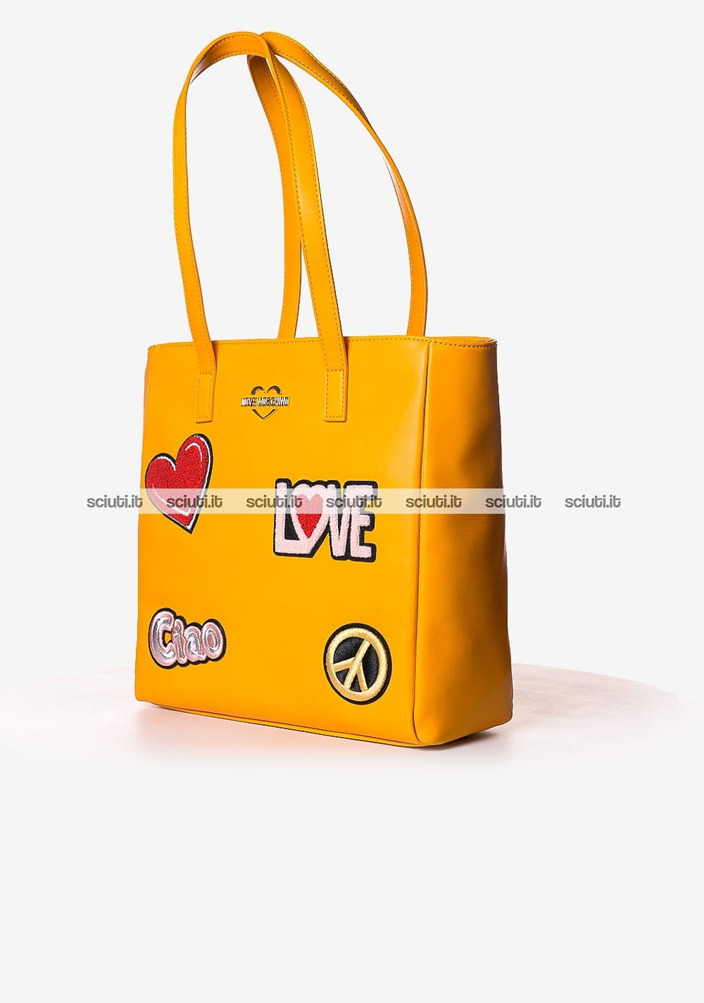 Borsa shopping Love Moschino donna patch arancione | Sciuti.it