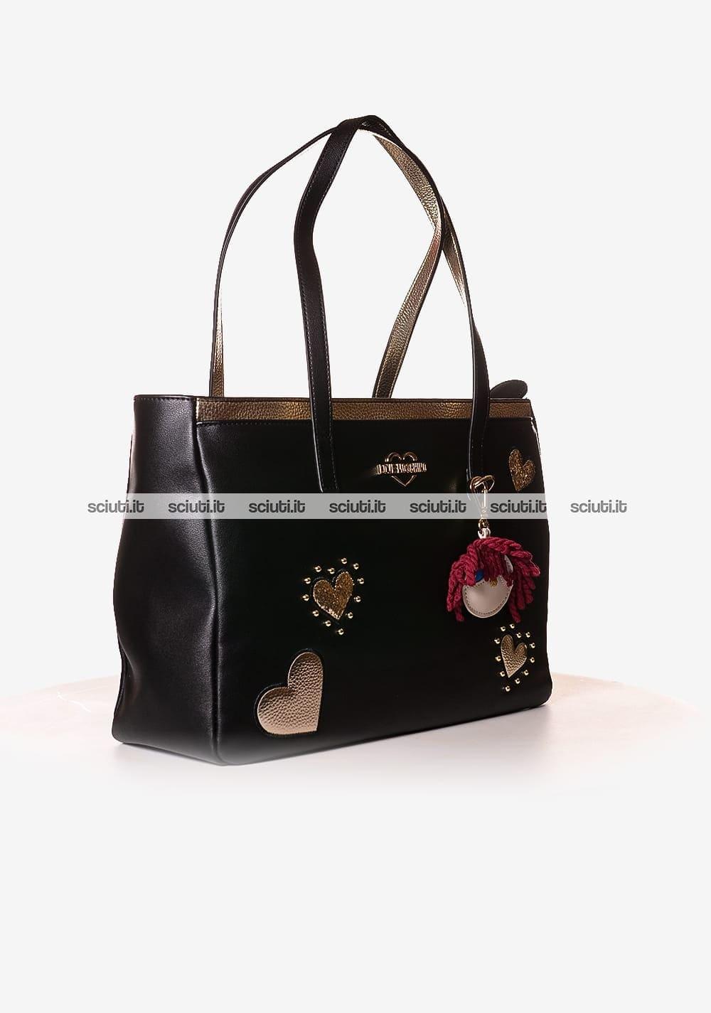 Love Moschino Borsa shopping in ecopelle con frange e logo