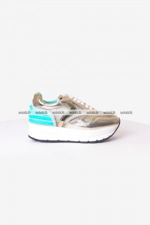 Scarpe Voile Blanche donna May Power mesh platino verde acqua