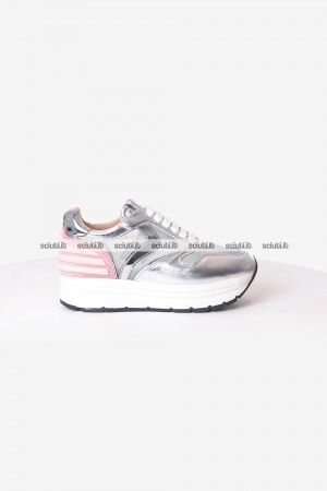 Scarpe Voile Blanche donna May Power mesh argento rosa