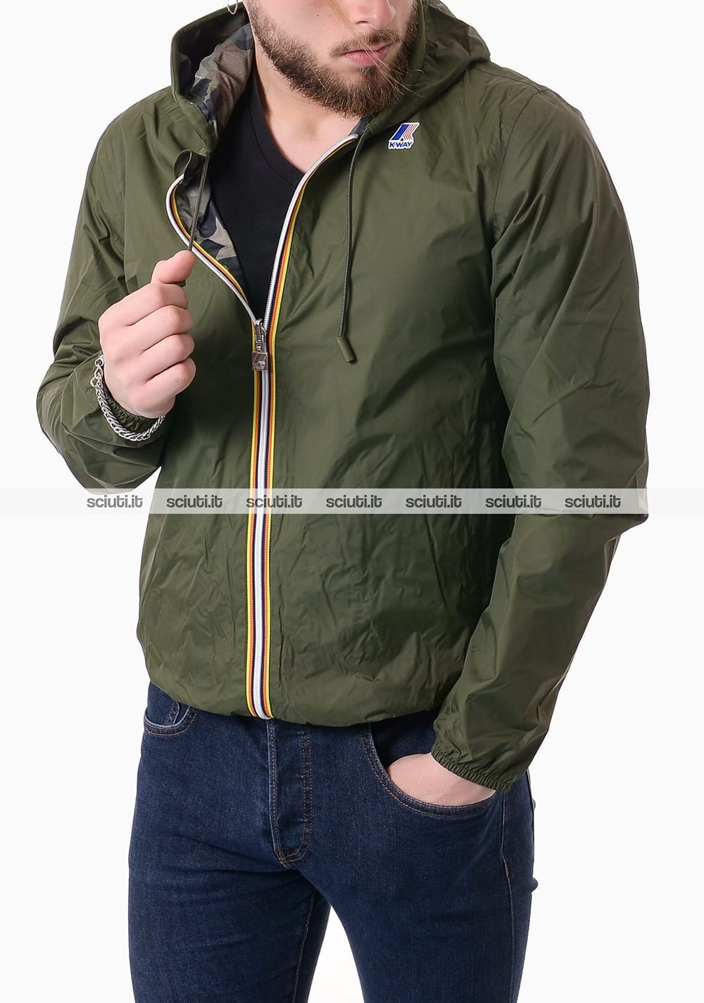 more photos d3ddf 0769b Giubbotto Kway uomo Jacques plus double graphic verde camouflage