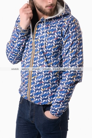 Giubbotto Kway uomo Jacques plus double graphic blu ottanio