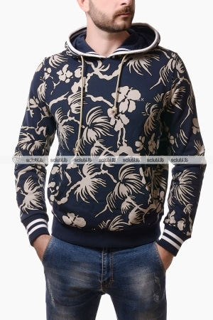 Felpa Sun68 uomo con cappuccio stampa all over blu navy