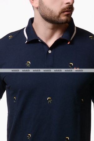 Polo Sun68 uomo ricami all over blu navy