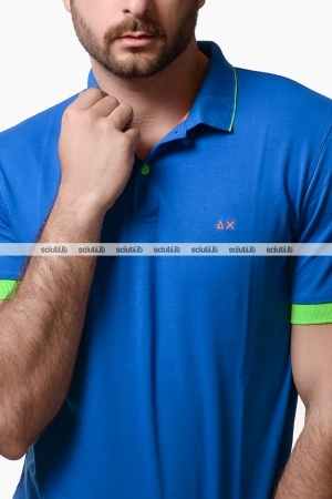 Polo Sun68 uomo small stripes fluo blu royal