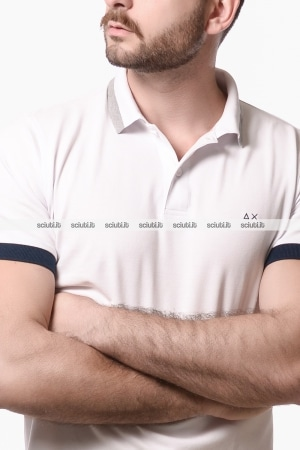 Polo Sun68 uomo big stripes collar bianco