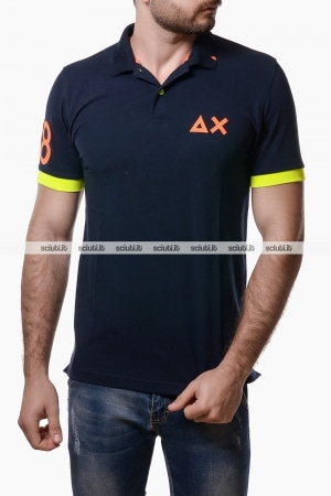 Polo Sun68 uomo patch fluo blu navy