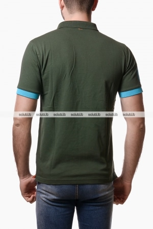 Polo Sun68 uomo patch fluo verde scuro