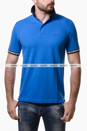 Polo Sun68 uomo intarsia collar rib royal