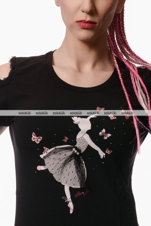 Tshirt Liu Jo donna con cut out nero