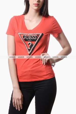 Tshirt Guess donna logo perle applicate rosso