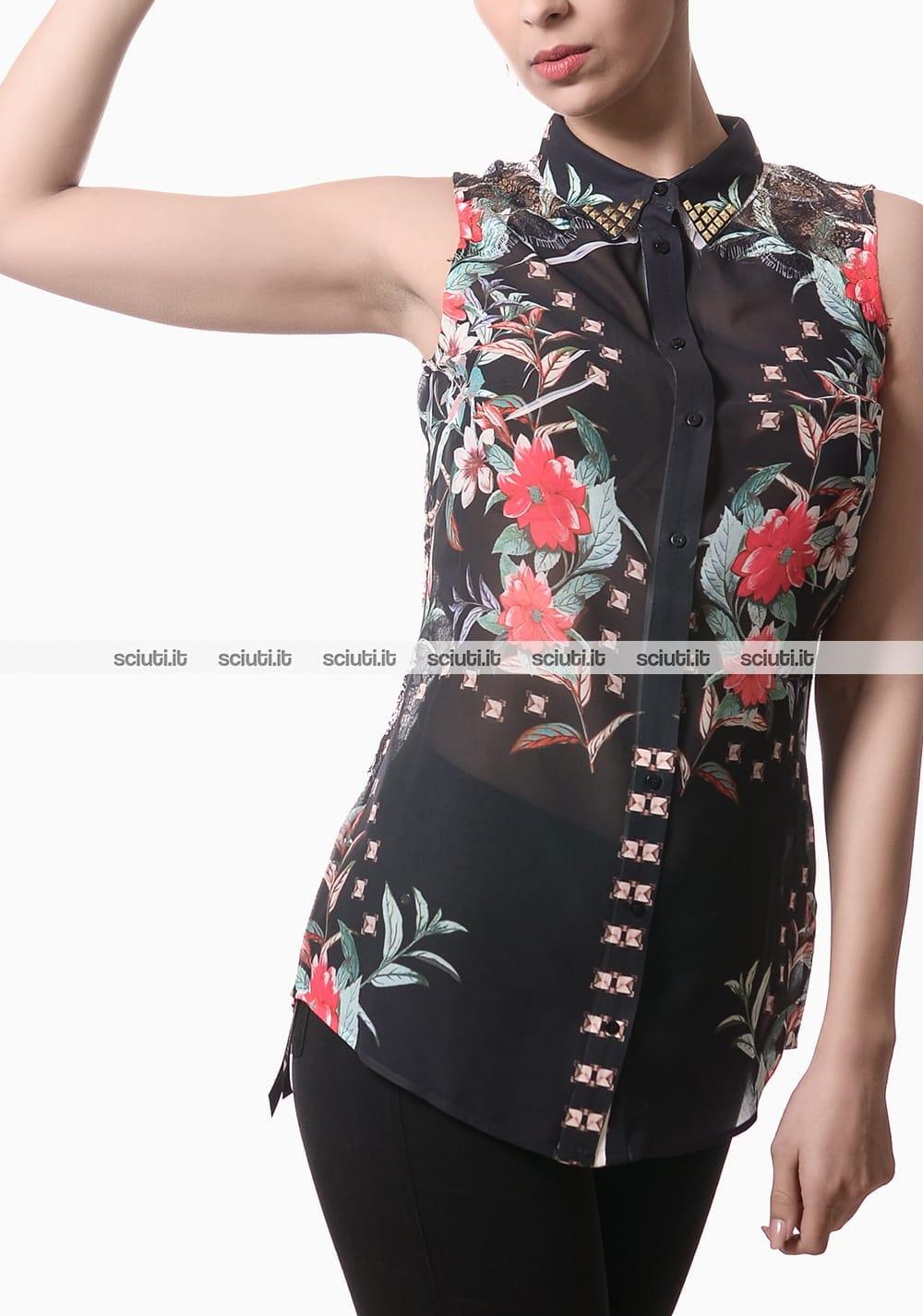 Camicia Guess donna smanicata con fiori e borchiette nero