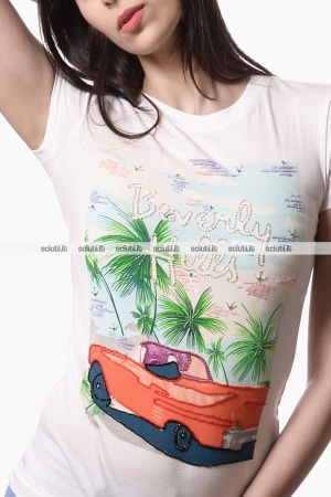 Tshirt Guess donna Beverly Hills bianco