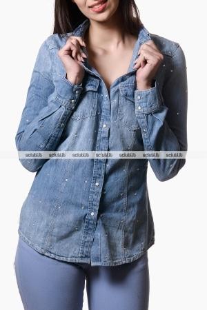 Camicia Guess donna spalle scoperte azzurro   Sciuti.it