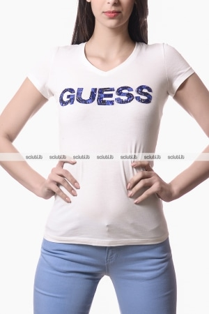 Tshirt Guess donna logo perline bianco