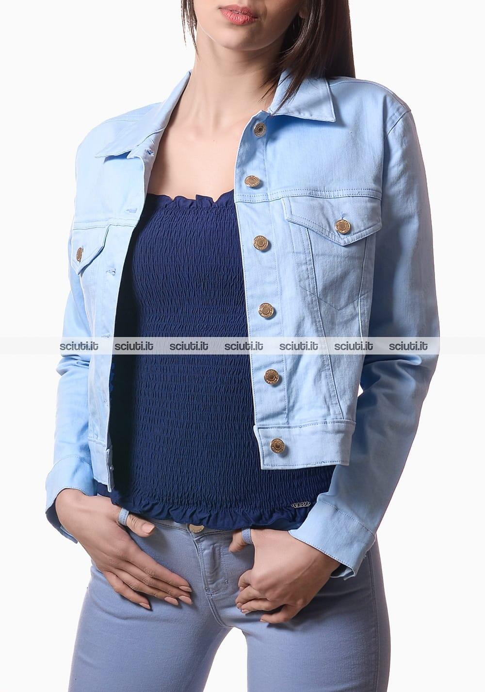 quality design 169c2 454bd Giubbotto di jeans Guess donna con bottoni azzurro | Sciuti.it