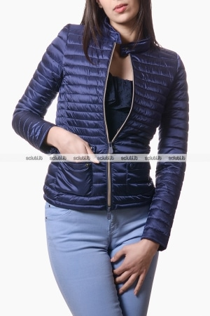 Piumino Save the duck donna biker con taschine blu