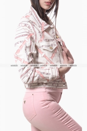 Giubbotto in jeans Guess donna stampa catene bianco rosa