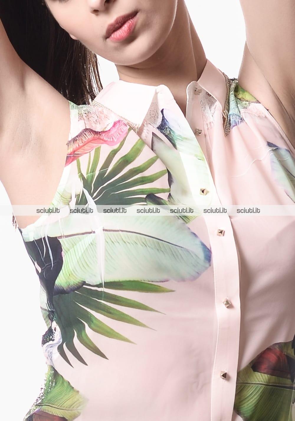 brand new 78f41 d8d20 Camicia Guess donna smanicata fantasia floreale rosa   Sciuti.it