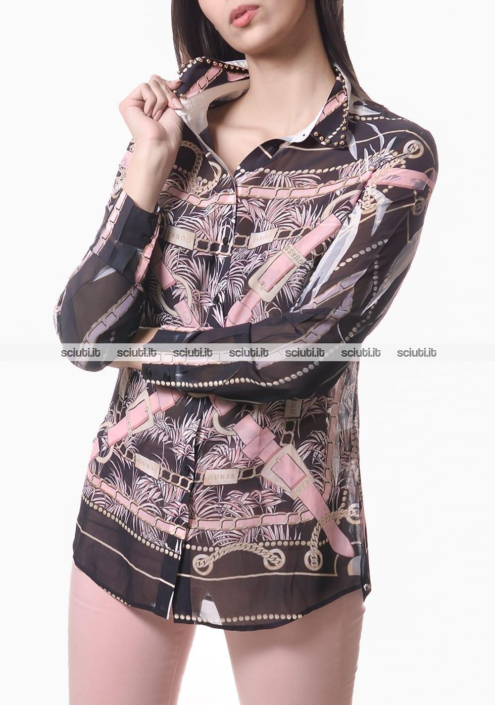 buy popular 9dfce 1158f Camicia Guess donna stampa cinturini nero rosa | Sciuti.it