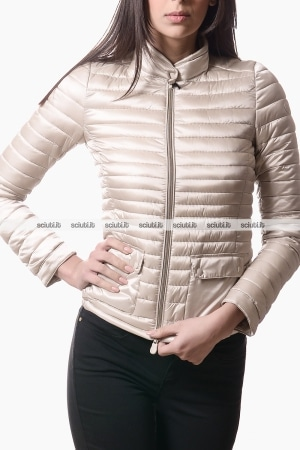Piumino Save the duck donna biker con taschine beige