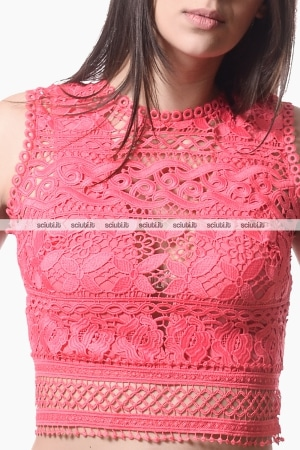 Top Guess donna in pizzo ricamato fucsia