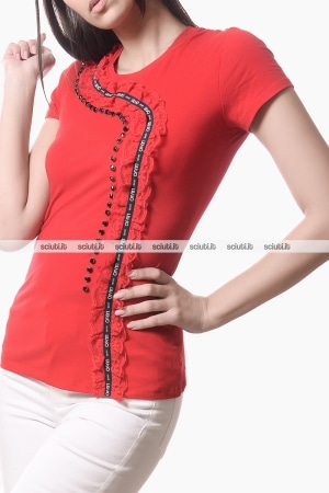 Tshirt Liu Jo donna rouches in pizzo rosso