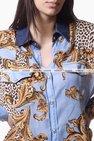 Camicia Liu Jo donna in raso con colletto denim fantasia barocco
