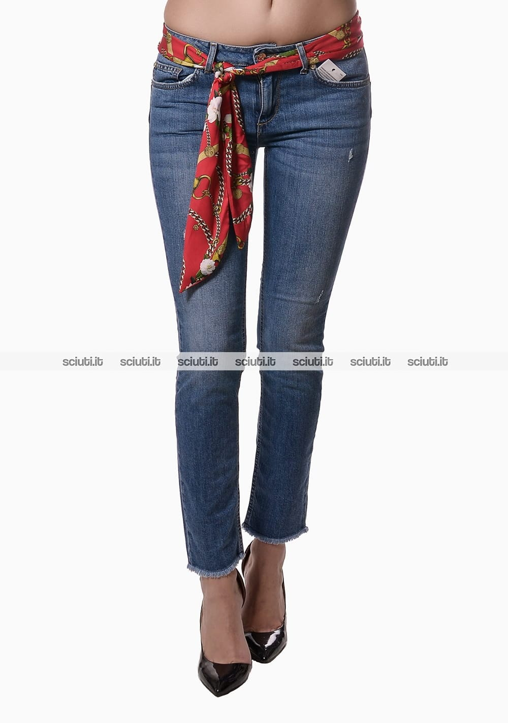 Jeans Liu Jo donna bottom up Ideal con foulard stampato