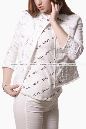 Giubbotto di jeans Liu Jo donna Kate logo all over strass bianco