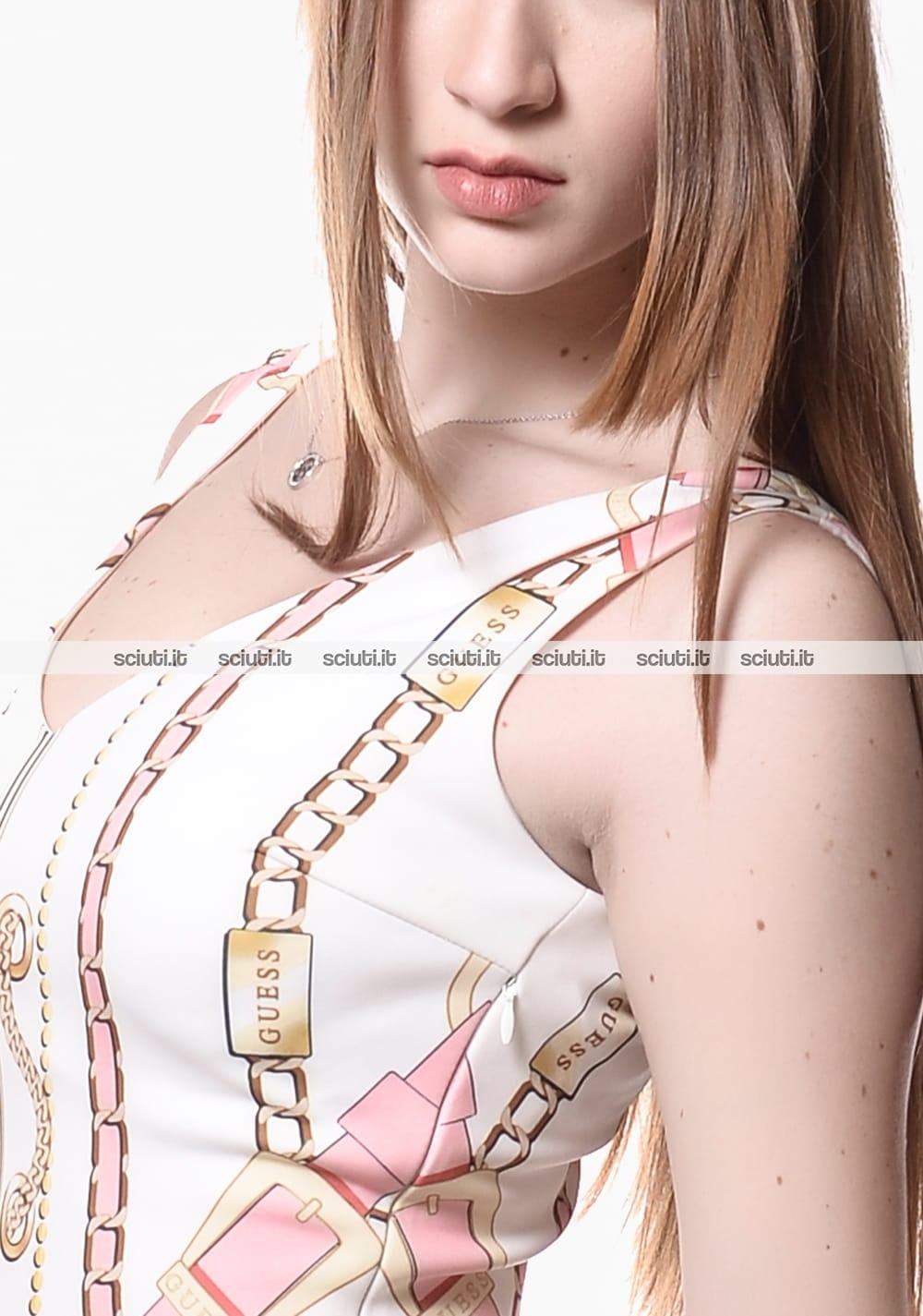 Abito Guess donna stampa catene bianco rosa | Sciuti.it