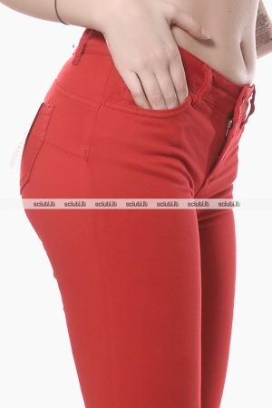 Pantaloni Liu Jo donna bottom up Ideal inserto merletto rosso