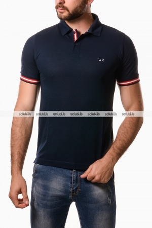 Polo Sun68 uomo rib stripes blu navy