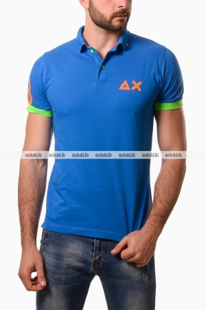 Polo Sun68 uomo patch fluo royal
