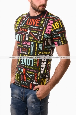 Tshirt Love Moschino uomo logo all over nero
